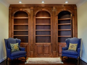 Wall covered by hidden bookcase doors
